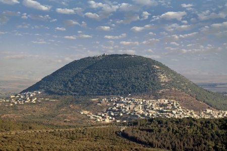 view of the biblical Mount Tabor and the Arab villages at its foot
