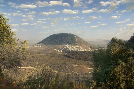 transfiguration: view of the biblical Mount Tabor and the Arab villages at its foot