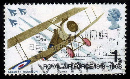 GREAT BRITAIN - CIRCA 1968: a stamp printed in the Great Britain shows fighter plane Sopwith Camel and English Electric Lightning fighters , royal air force , series British Anniversaries, circa 1968