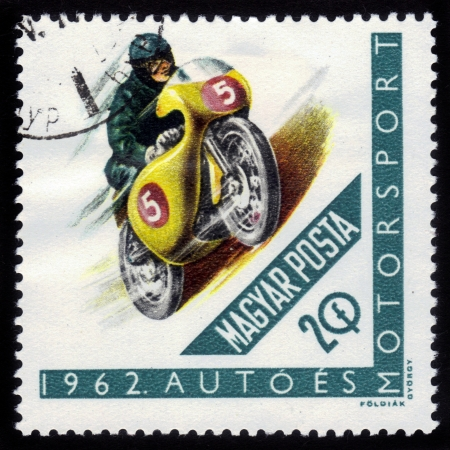 HUNGARY - CIRCA 1962: A stamps printed in Hungary showing racing motorcycle, series, circa 1962
