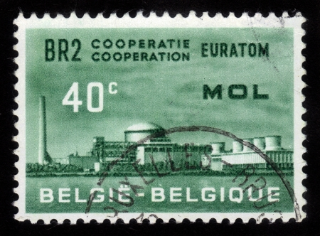 mol: BELGIUM - CIRCA 1961: a stamp printed in the Belgium shows Atomic Reactor Plant, BR2, Mol, Atomic Nuclear Research Center at Mol, Belgium, circa 1961