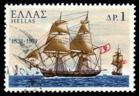 brigantine: GREECE - CIRCA 1971: A stamp printed in Greece from the 150th Anniversary of War of Independence . The War at Sea shows Pericles ; warship from spetses island greece, circa 1971. Editorial