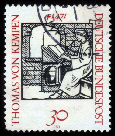 treatise: FEDERAL REPUBLIC OF GERMANY - CIRCA 1971: A stamp printed in  Germany shows Thomas a Kempis - German Catholic monk and priest, author of the treatise The Imitation of Christ, 1471, circa 1971 Editorial