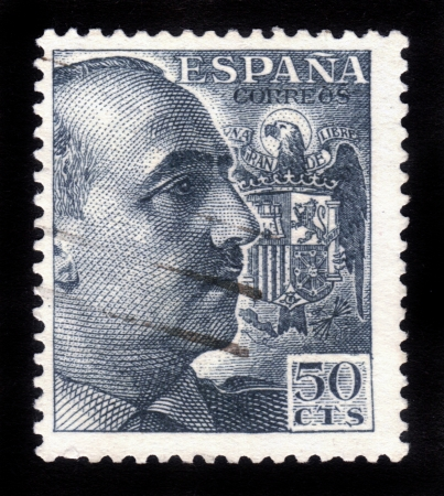 SPAIN-CIRCA 1939:A stamp printed in SPAIN shows image Francisco Franco was a Spanish dictator, military general,circa 1939 Stock Photo - 15438112