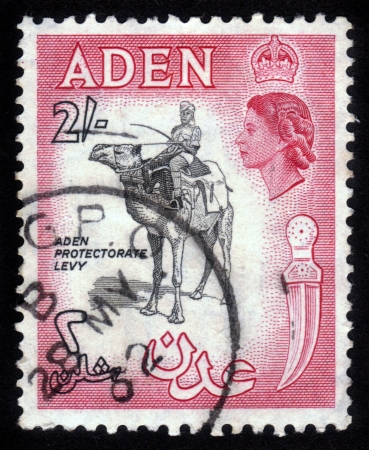 camel post: ADEN - CIRCA 1956: stamp printed in Aden shows a protectorate levy and the image of British Queen Elisabeth. Aden became a crown colony of the UK in 1954. Circa 1956
