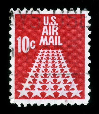 UNITED STATES - CIRCA 1968: stamp printed in United states (USA), shows Fifty Stars as a runway, from the series Air Mail, circa 1968