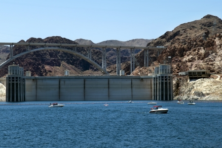 mead: Hoover Dam , Lake  Mead and Colorado River Bridge, the dam on the Colorado River in Black Canyon, on the border of Arizona and Nevada, USA Editorial