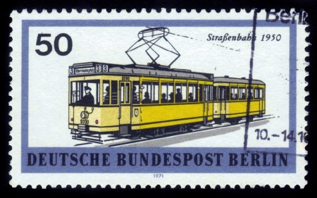 streetcar: FEDERAL REPUBLIC OF GERMANY - CIRCA 1971: A stamp printed in the Federal Republic of Germany shows Metropolitan train ( streetcar ) 1950, circa 1971