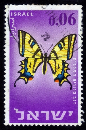 ISRAEL - CIRCA 1965: stamp printed by Israel, shows butterfly Maccabees Swallowtail ( papilio alexanor maccabaeus ), circa 1965 Stock Photo - 15641726