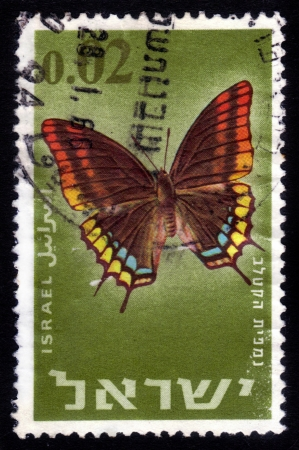 ISRAEL - CIRCA 1965: stamp printed by Israel, shows butterfly Two-tailed Pasha or Foxy Emperor, is a butterfly in the family Nymphalidae ( charaxes jasius ), circa 1965 Stock Photo - 15641724