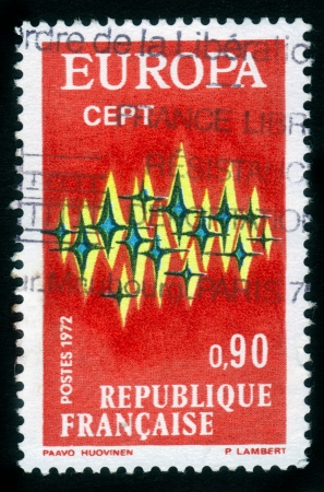 France - CIRCA 1972: A stamp printed in France shows a communications composition, symbolizing Unity, European Community from series the
