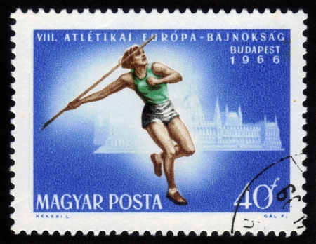 HUNGARY - CIRCA 1966: A stamp printed in Hungary shows javelin thrower with inscription and name of series VIII European Athletic Championships, Budapest�, circa 1966