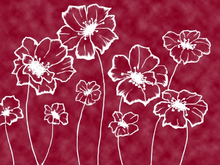 stylized white flowers on an unusual maroon background Stock Photo - 15736509