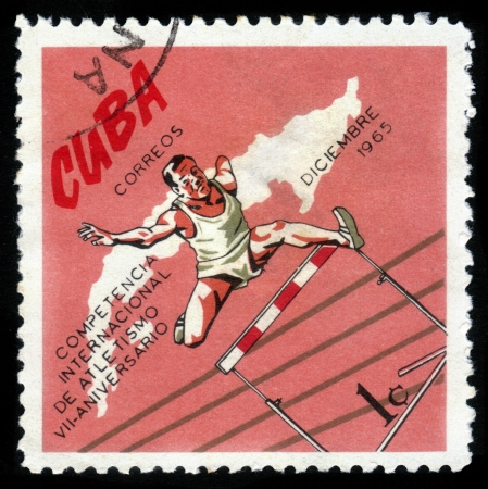 hurdling: CUBA- CIRCA 1972: a stamp printed by Cuba, shows competition in hurdling , devoted international athletics competition, 7 anniversary ,circa 1972 Editorial