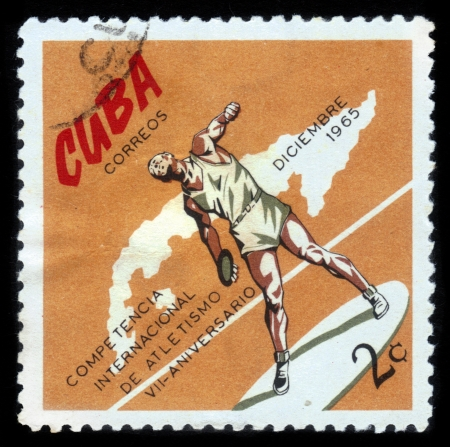 olympic symbol: CUBA- CIRCA 1972: a stamp printed by Cuba, shows discus thrower , devoted international athletics competition, 7 anniversary ,circa 1972
