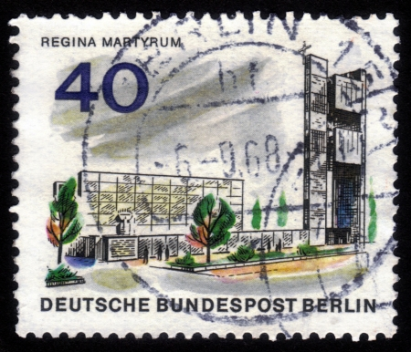 regina: GERMANY - CIRCA 1965: A stamp printed in Germany shows image of the Maria Regina Martyrum Church, series The new Berlin ,circa 1965