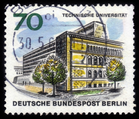 GERMANY - CIRCA 1965: A stamp printed in Germany shows image of the Technical University of Berlin, series