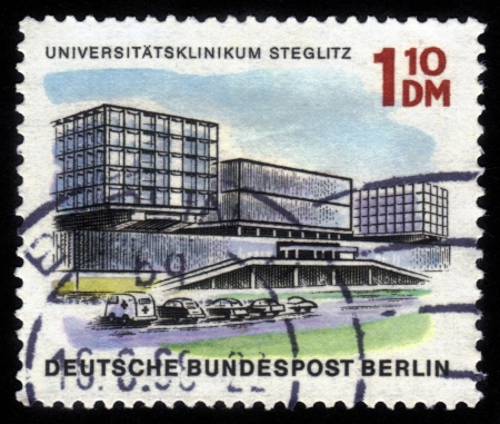 GERMANY - CIRCA 1966: A stamp printed in Germany shows image of the University Hospital Steglitz, series