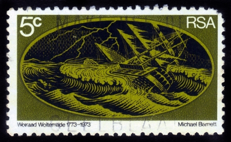 SOUTH AFRICA - CIRCA 1973: stamp printed in South Africa shows sinking ship,dedicated to Wolraad Woltemade , was South African farmer, who died while rescuing sailors from wreck of ship, circa 1973