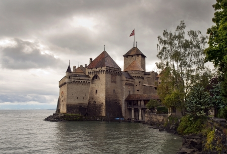 Chateau de Chillon before the rain , lake Geneva , Montreux , Switzerland Stock Photo - 15724337