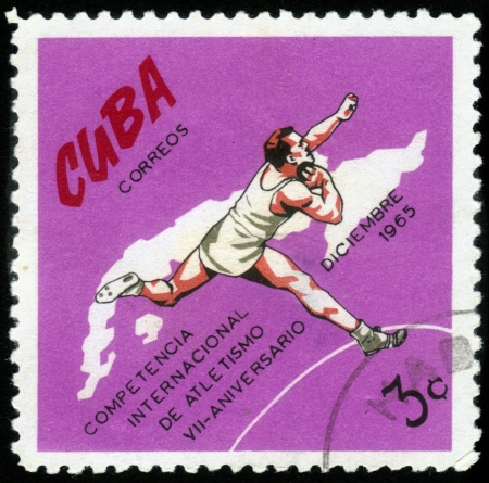 CUBA- CIRCA 1972: a stamp printed by Cuba, shows shot put , devoted international athletics competition, 7 anniversary ,circa 1972 Stock Photo - 15819680