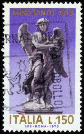 Angel , Statue by Giovanni Bernini on the Angels' Bridge in Roma Stock Photo - 15819656