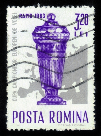 ROMANIA - CIRCA 1963: A stamp printed in Romania shows Europa Cup, Series European Volleyball Championships, circa 1963 Stock Photo - 15819659