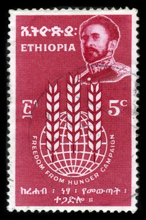 ETHIOPIA - CIRCA 1963 : A stamp printed in Ethiopia shows image of  emperor Haile Selassie on a red background , with the inscription : freedom from hunger campaign, circa 1963 Stock Photo - 15819678