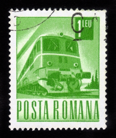 ROMANIA - CIRCA 1967: stamp printed by Romania, shows old diesel Locomotive, circa 1967 photo