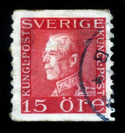 SWEDEN - CIRCA 1938: A stamp printed in Sweden showing King  of Sweden Gustav V , circa 1938 Editorial