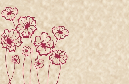 stylized maroon flowers on an unusual light beige background Stock Photo - 15855868