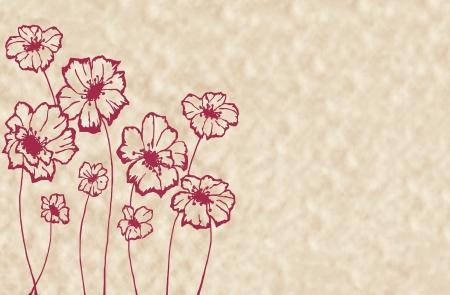 stylized maroon flowers on an unusual light beige background Stock Photo