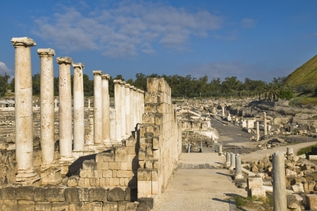 Roman columns in archaeological site ,  Beit Shean , Israel Stock Photo - 15855866