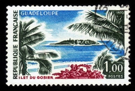 islet: FRANCE - CIRCA 1970: stamp printed by France, shows Gosier Islet, Guadeloupe, Caribbean, circa 1970 Stock Photo