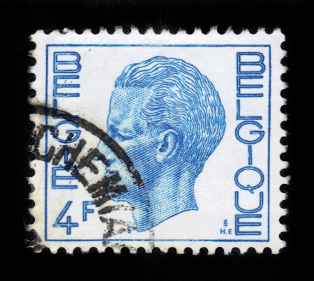BELGIUM - CIRCA 1971: A Stamp printed in BELGIUM shows the portrait of a Baudouin I (1930-1993) reigned as King of the Belgians, blue , series, circa 1971 Stock Photo - 15987080