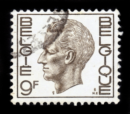 baudouin: BELGIUM - CIRCA 1971: A Stamp printed in BELGIUM shows the portrait of a Baudouin I (1930-1993) reigned as King of the Belgians, sepia , series, circa 1971 Editorial