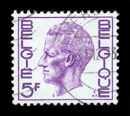 BELGIUM - CIRCA 1971: A Stamp printed in BELGIUM shows the portrait of a Baudouin I (1930-1993) reigned as King of the Belgians, violet , series, circa 1971 Stock Photo - 15987079