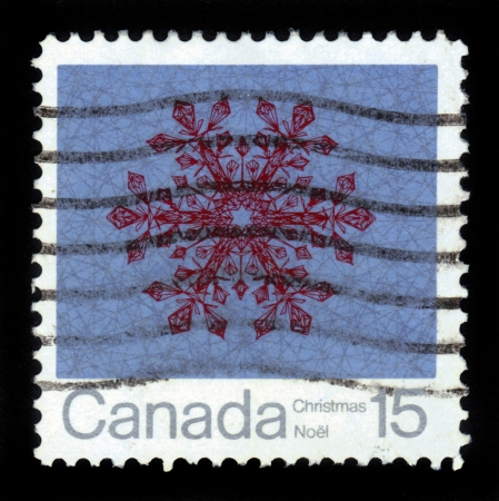 CANADA - CIRCA 1971: A stamp printed in the Canada shows snowflake for Christmas, circa 1971 Stock Photo