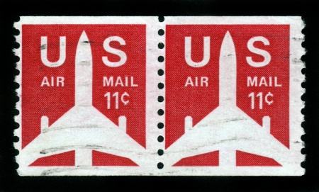 USA - CIRCA 1971: A stamp printed in USA shows the Silhouette of Jet Airliner, series, circa 1971 Stock Photo - 15987086