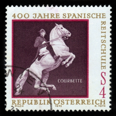 AUSTRIA - CIRCA 1963: A stamp printed in Austria, devoted to the 400 years Spanish Riding School - Courbette, circa 1963 Stock Photo - 15987068