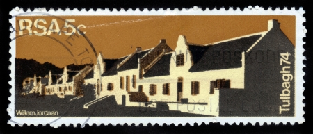 REPUBLIC OF SOUTH AFRICA - CIRCA 1974: A stamp printed in Republic of South Africa shows Country Guest House in Dutch Quarters of Tulbagh , circa 1974 Stock Photo - 15987069