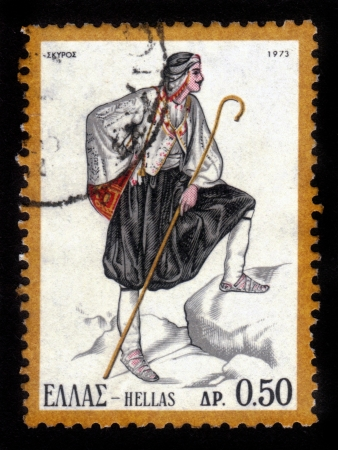 GREECE - CIRCA 1973: stamp printed by Greece, shows Traditional Greek regional costumes, man from Skyros island , circa 1973 Stock Photo - 15987064