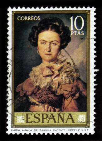 SPAIN - CIRCA 1973: A stamp printed in Spain shows the painting Maria Amalia de Sajonia by Vicente Lopez Y Portana, spanish painter, circa 1973 Stock Photo - 15987070