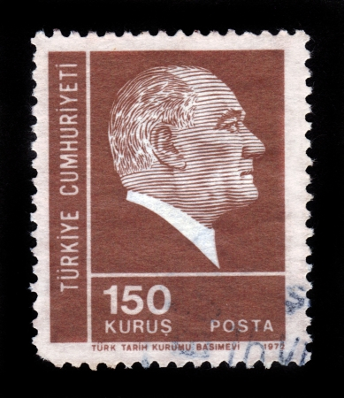 TURKEY - CIRCA 1972: A stamp printed by Turkey, shows president Mustafa  Kemal Ataturk, circa 1972 Stock Photo - 15987063