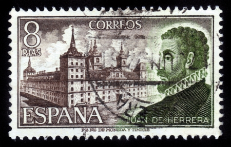 SPAIN - CIRCA 1973: A stamp printed in Spain shows Spanish architect and scholar Juan Bautista de Herrera, against the background of the monastery-palace of Escorial , circa 1973 Stock Photo - 15987067