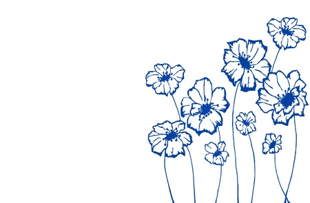 stylized blue flowers on an white background Stock Photo - 16007386