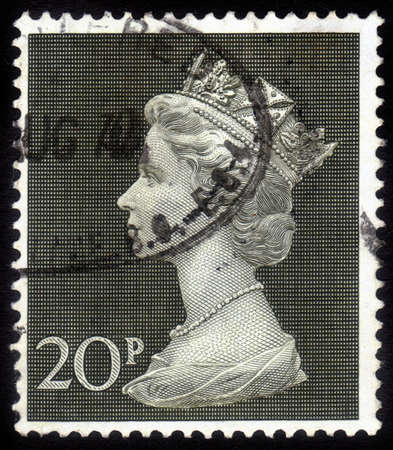 UNITED KINGDOM - CIRCA 1975  A stamp printed in England, shows the Queen Elizabeth II with diamond tiara , circa 1975 Stock Photo - 15987075