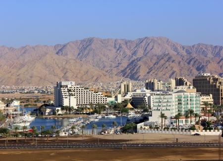 Eilat, Israel - September 26:marina and modern hotel King Solomon in popular resort