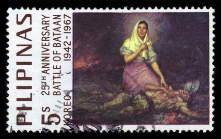 PHILIPPINES - CIRCA 1967: A stamp printed in Philippines honoring 25 th anniversary Battle of Bataan, circa 1967