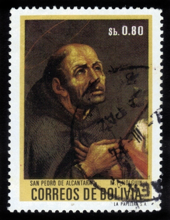 crucifixes: BOLIVIA - CIRCA 1974  A stamp printed in Bolivia shows portrait of St  Pedro de Alcantara by M  P  Holguin , circa 1974